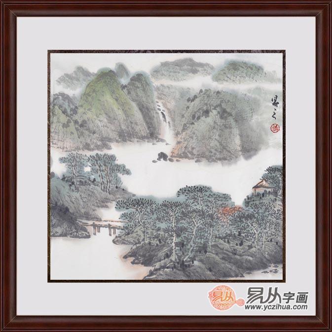 李新华斗方水墨写意山水画作品《穷款》作品来源:易从山水画