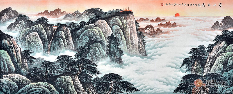 易天也八尺横幅国画泰山层峦叠嶂《基业永固》-山水画现代客厅装饰图片