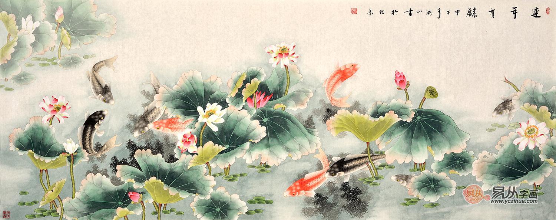 客厅挂画风水-【作品推荐】:张洪山八尺横幅花鸟画荷
