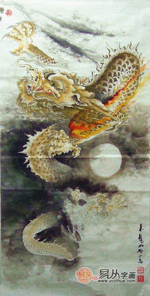 吕明刚是一位当代以画龙著称的名家,他笔下的龙充满着皇权霸气,栩栩图片