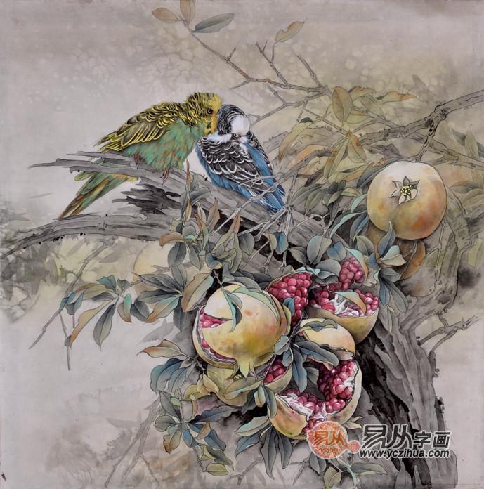 鹦鹉工笔画 巧嘴精灵