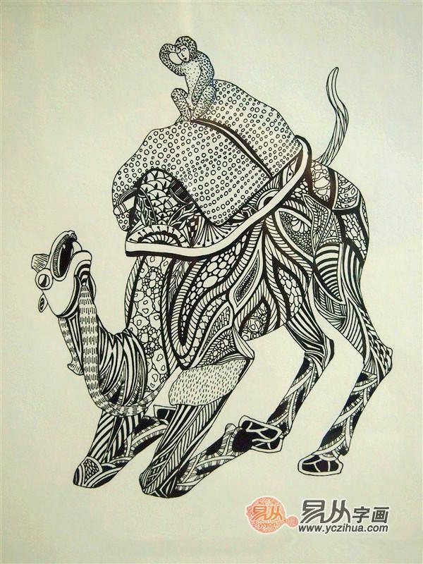 黑白装饰画动物