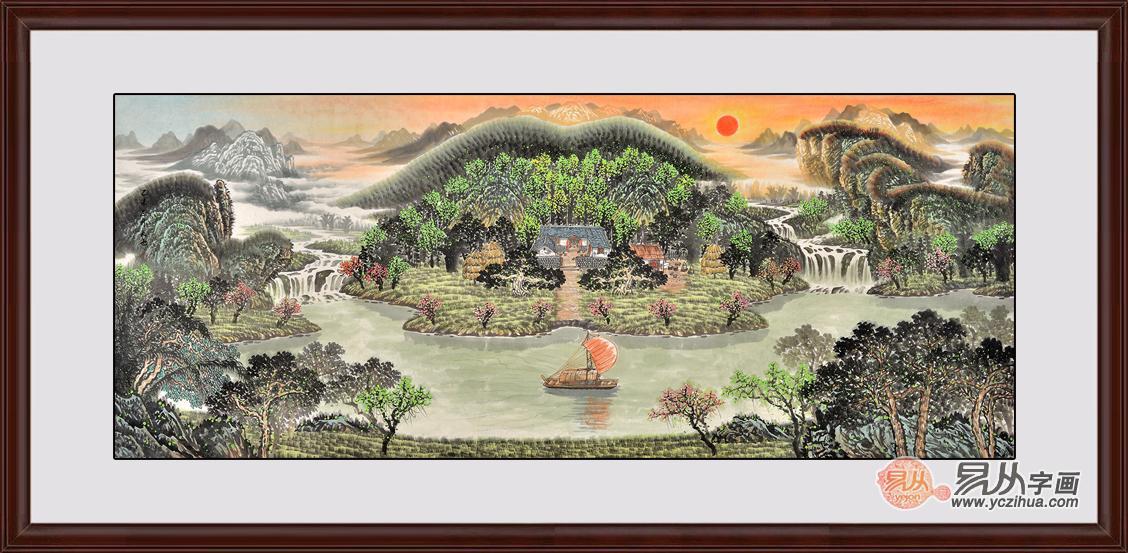 方 易天也八尺横幅山水画《至尊聚宝盆》作品来源:【易从网】-适图片
