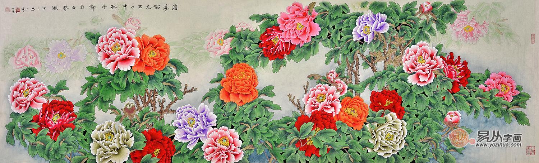 不与百花争报春,春深时节始登陆。每当到了百花盛开的四月份,牡丹就像成了花的海洋,而图中的牡丹颜色各异,花朵硕大,花瓣肥厚,花蕊也非常的多。有红色,粉的,紫的,绿的,……这儿一丛,那儿一簇,有的羞涩的打着朵儿,有的婀娜绽放,还有的文静的偎依在绿叶上。