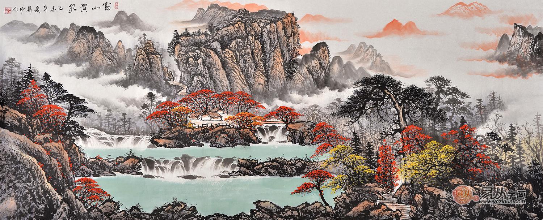 客厅装饰画 国画家蒋伟山水画《富山贵水》
