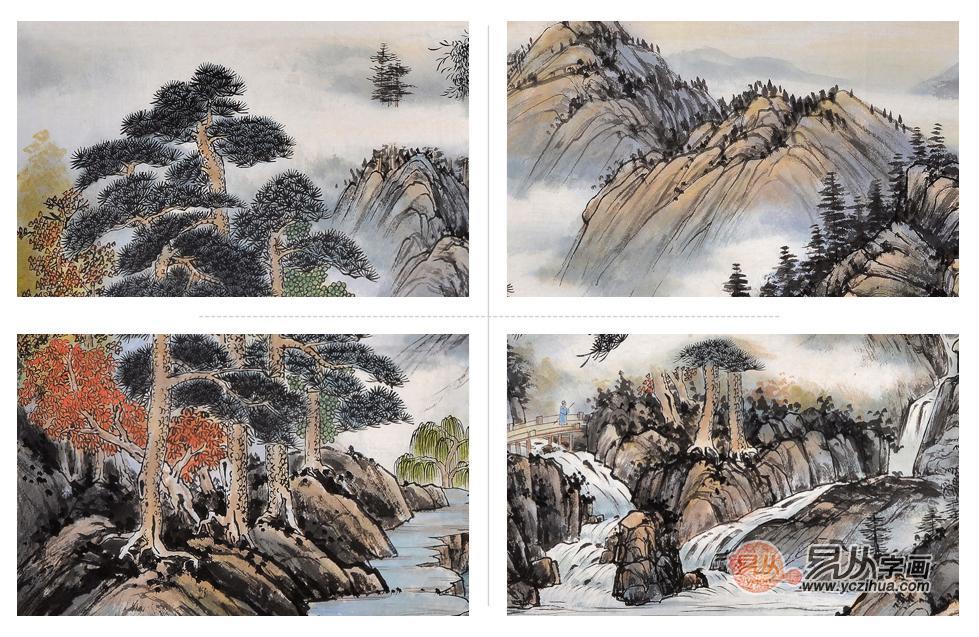 山涧枫树绘画作品