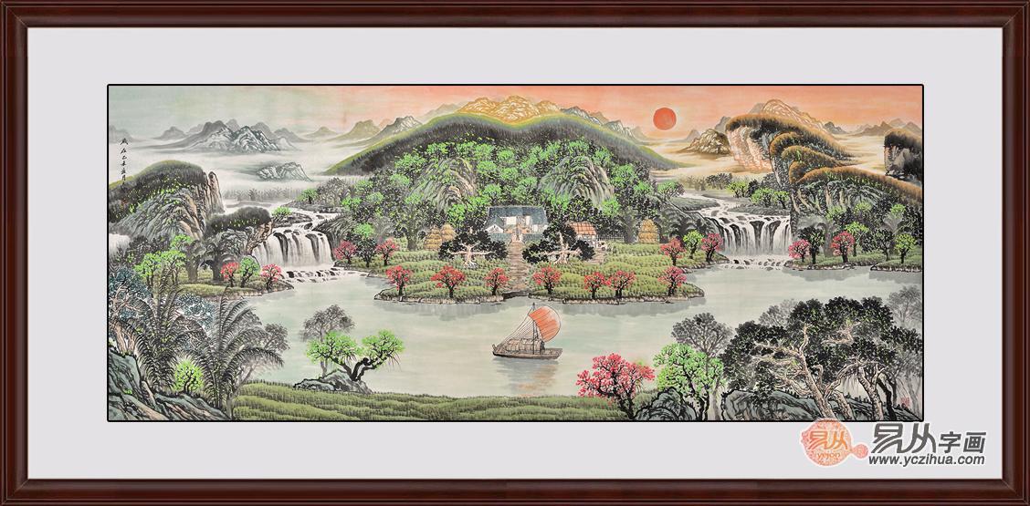 清溪图 易天也山水画作品聚宝盆《福山聚宝图》 作品来源:【易从网图片
