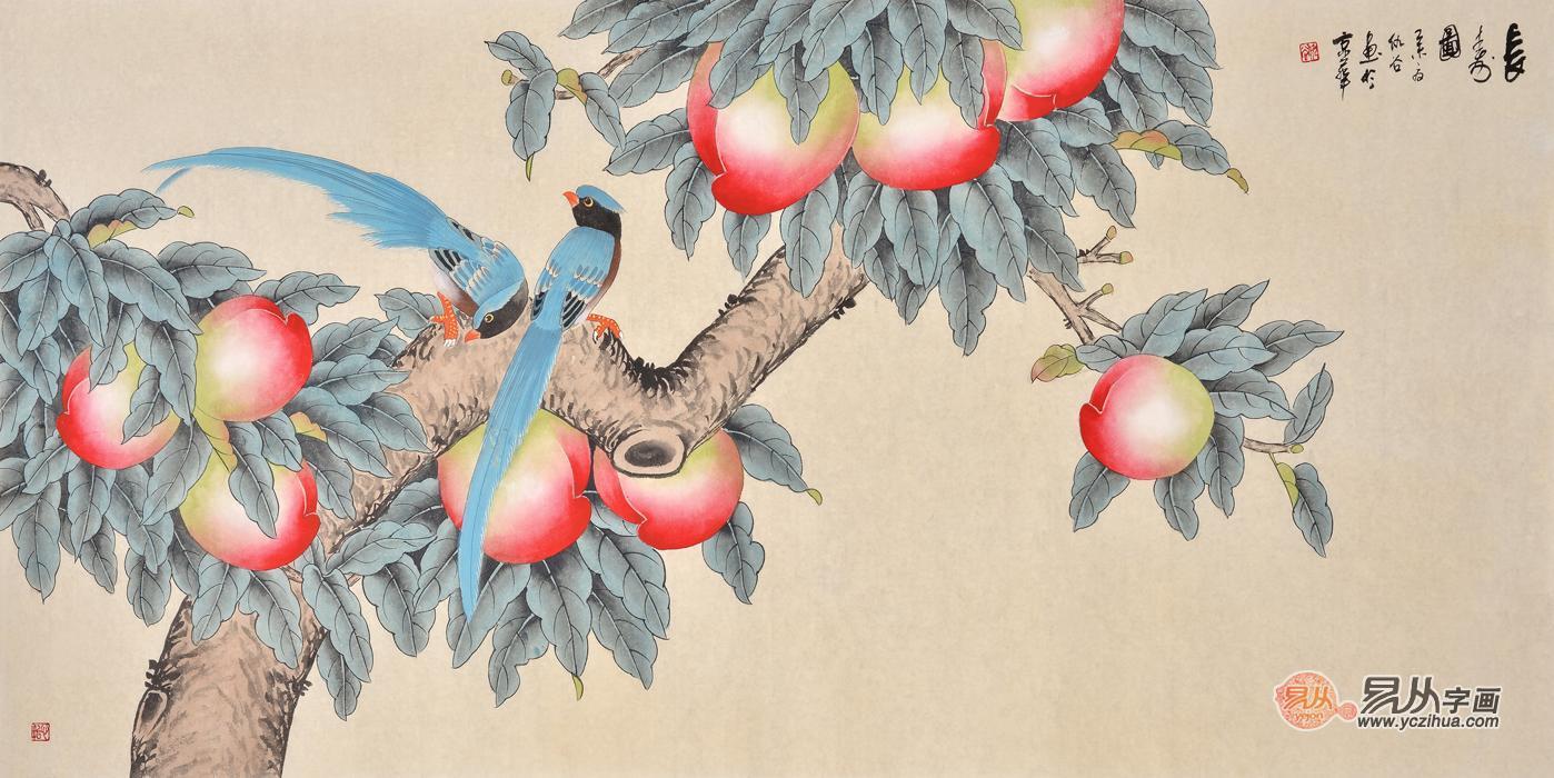 花鸟画家仇谷工笔画作品喜鹊寿桃《长寿图》
