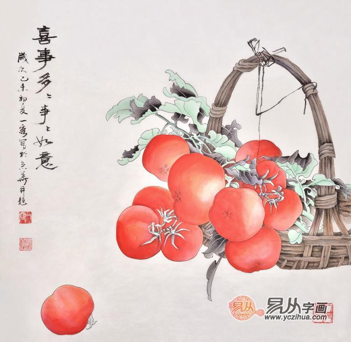 垂涎欲滴,该工笔画柿子图所用笔墨多红色,构图显亲和,观之神怡,思之快