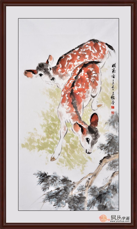 国画家王文强写意动物画作品《柏鹿图》