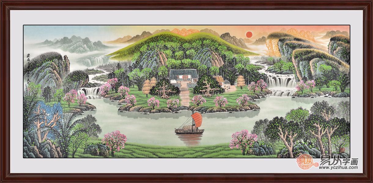 易天也聚宝盆山水画《旭日东升祥云起》作品来源:易从字画图片