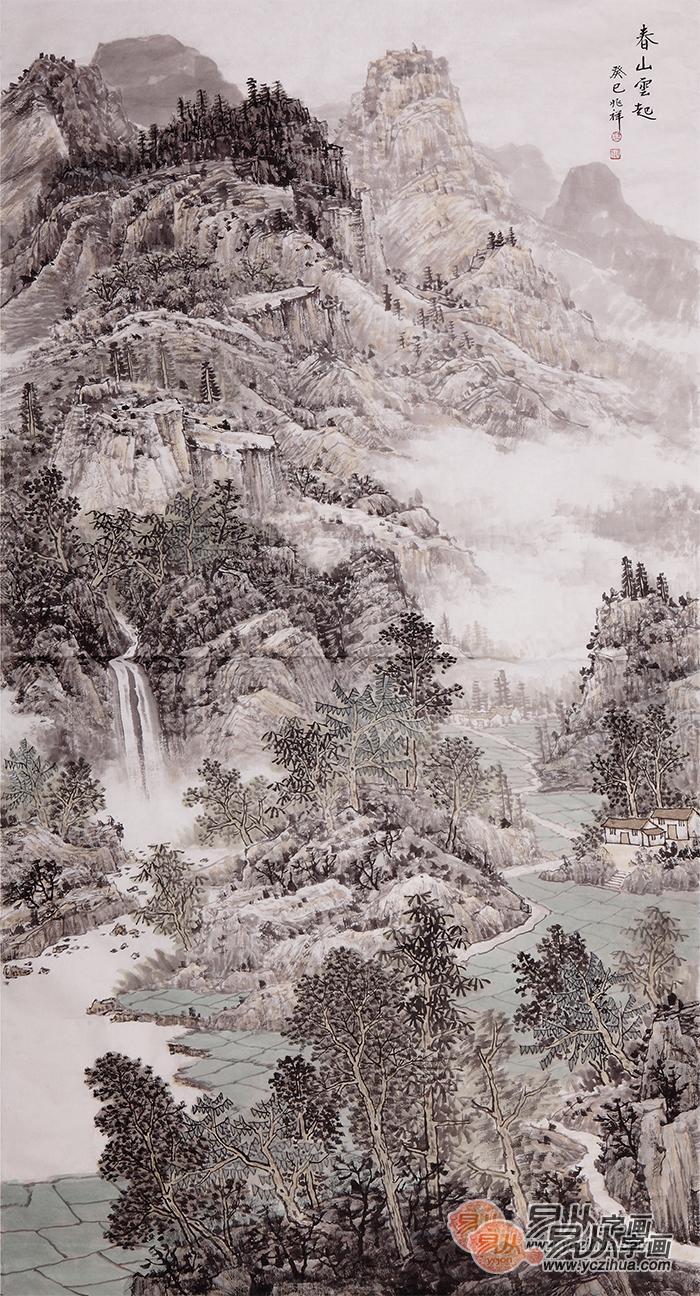 沈兆祥六尺竖幅山水画作品《春山云起》图片